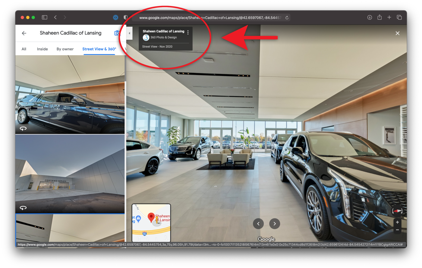 3 Dots Embed Google Maps Virtual Tour Shaheen Cadillac of Lansing Michigan
