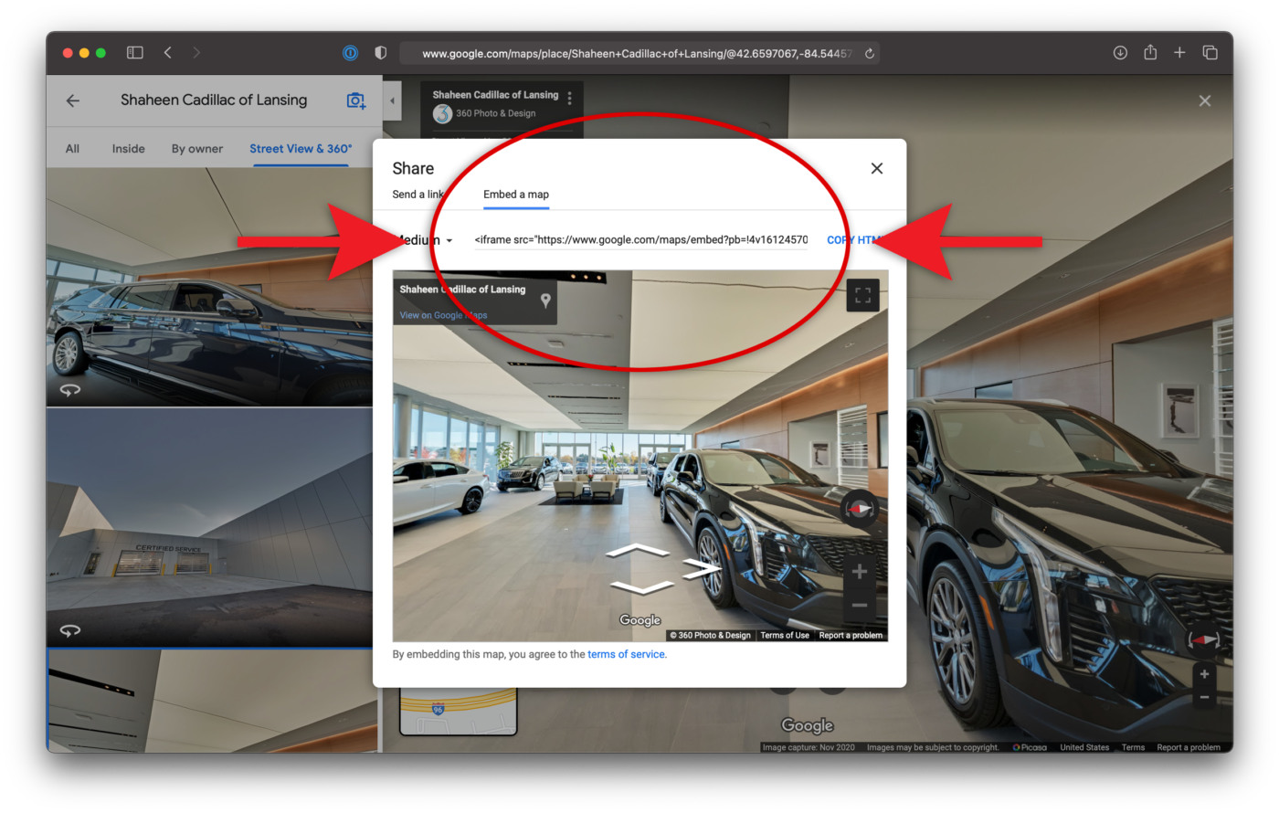 Embed a map Google Search Embed Google Maps Virtual Tour Shaheen Cadillac of Lansing Michigan