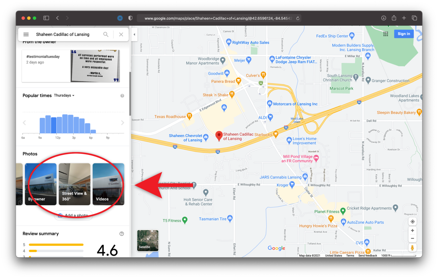 Photos Embed Google Maps Virtual Tour Shaheen Cadillac of Lansing Michigan