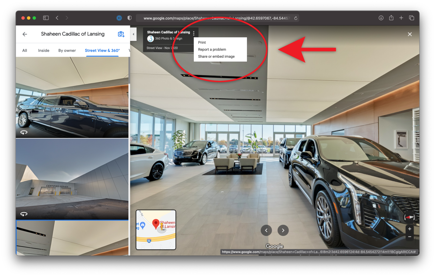 Share or Embed Google Maps Virtual Tour Shaheen Cadillac of Lansing Michigan
