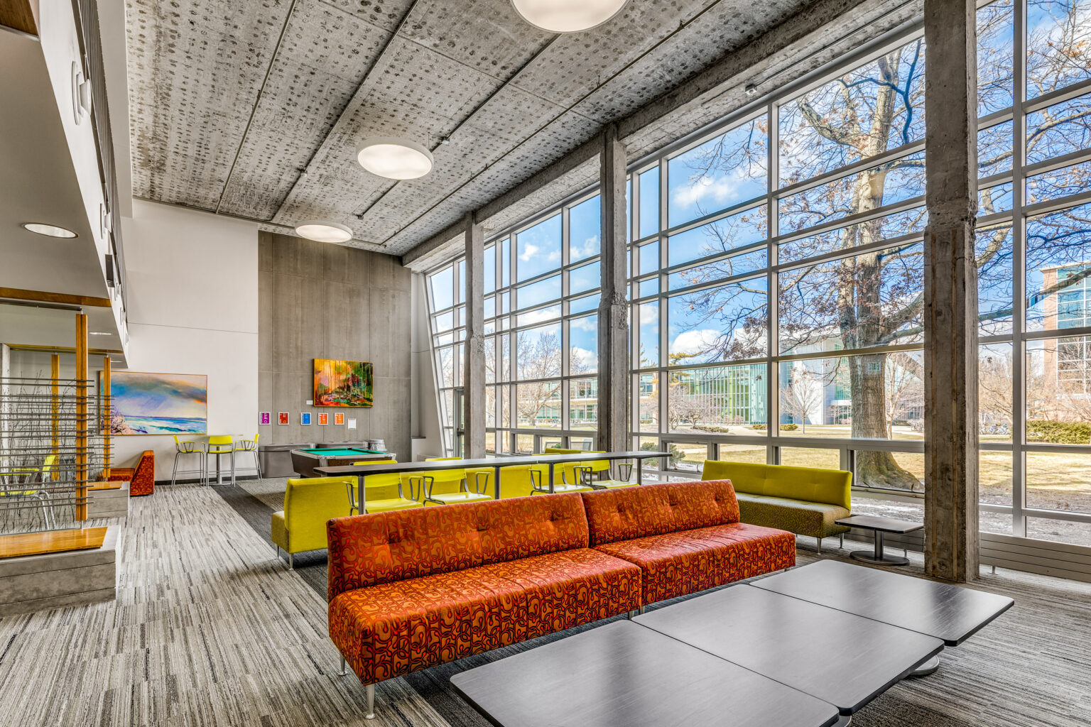 Architectural Photography of the interior of a Student Lounge at MSU in East Lansing, MI